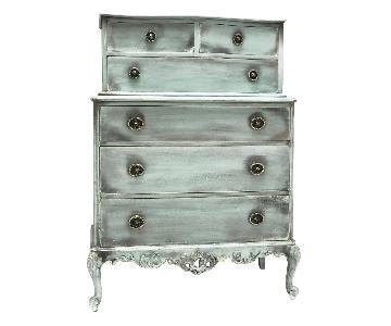 Teal Turquoise Distressed Antiqued French Dresser