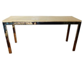 Travertine & Chrome Mid-Century Console Table