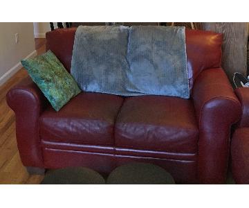 Macy's Natuzzi Red Leather 2 Seater Sofa