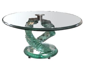 Stacked Glass Base Swivel Coffee Table