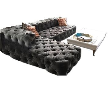 Restoration Hardware Soho Tufted Sectional Couch & Ottoman