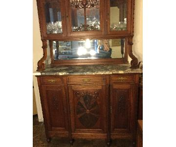 Antique French Victorian Sideboard w/ Hutch