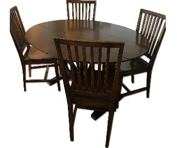 Crate & Barrel Wood Drop-Leaf Dining Table w/ 4 Chairs
