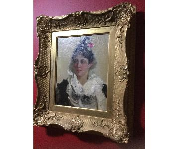 Spanish Lady Oil on Canvas In Ornate Gold Wood Frame