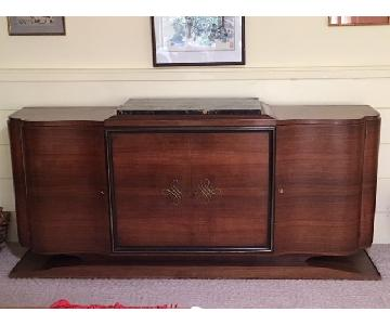 Vintage French Solid Mahogany Credenza w/ Italian Marble Top
