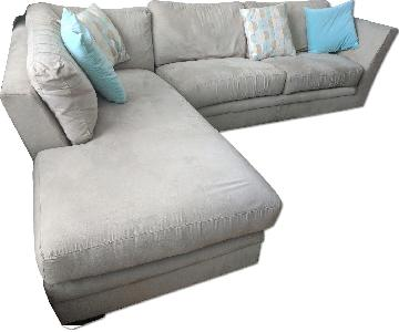 Off White Microsuede Sectional Sofa