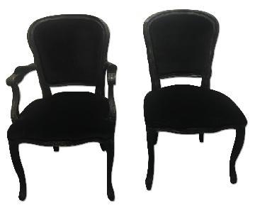 Vintage Italian Style Reupholstered Black Velvet Dining Chai