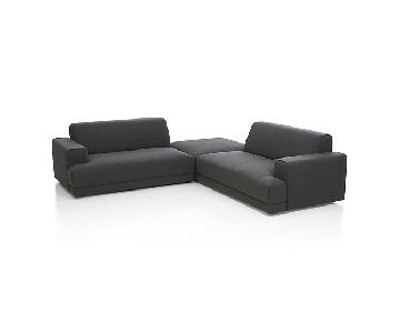 Crate & Barrel 3 Piece Annexe Sectional in Navy/Grey