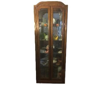 Vintage Vitrine Wood & Glass China Cabinet