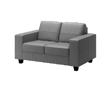 Ikea Skogaby Leather Loveseat in Gray