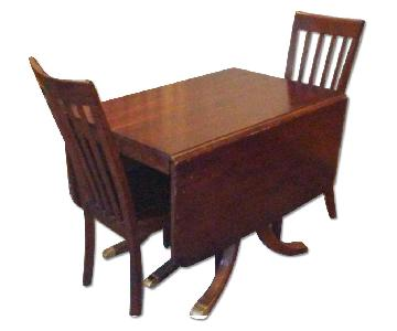 Duncan Phyfe Reproduction Drop Leaf Table w/ 2 Chairs