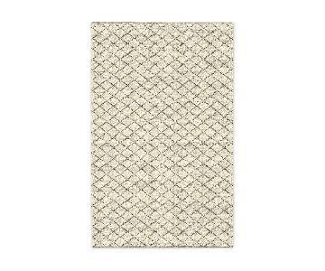 West Elm Watercolor Trellis Wool Shag Rug in Ivory
