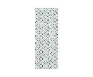 West Elm Watercolor Trellis Wool Shag Rug in Ivory Teal