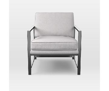 West Elm Metal Frame Chair in Light Frost Grey Tweed