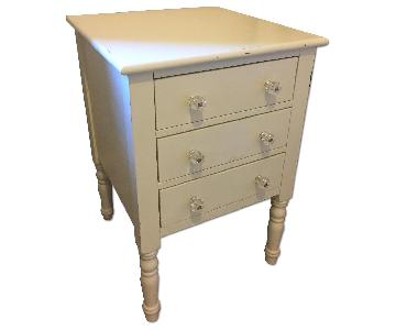 Pottery Barn Teen White Nightstand w/ Crystal Knobs