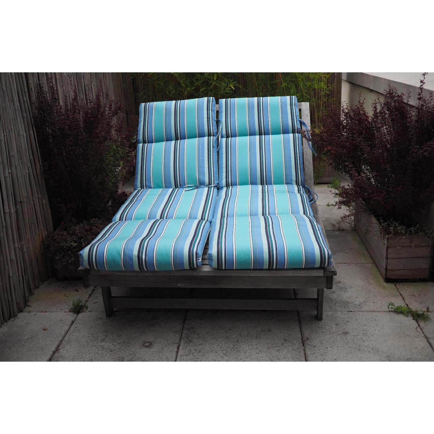 Outdoor Teak Double Chaise Lounge Chair-0
