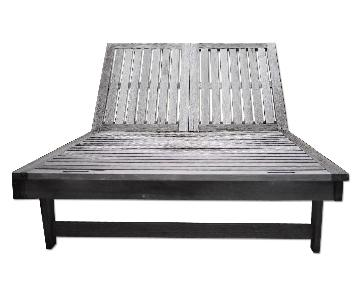 Outdoor Teak Double Chaise Lounge Chair