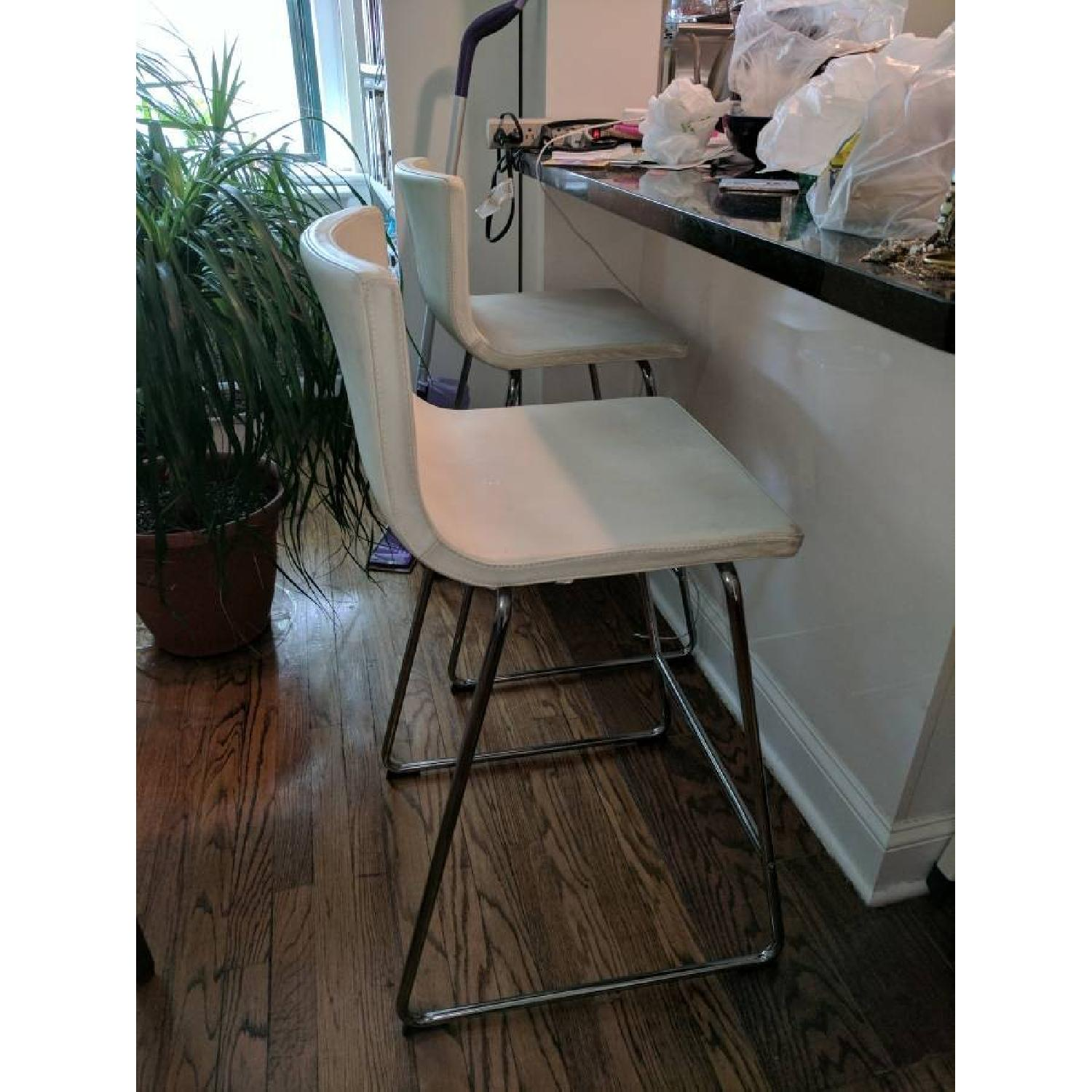 ikea bernhard white leather bar stools w backrest1