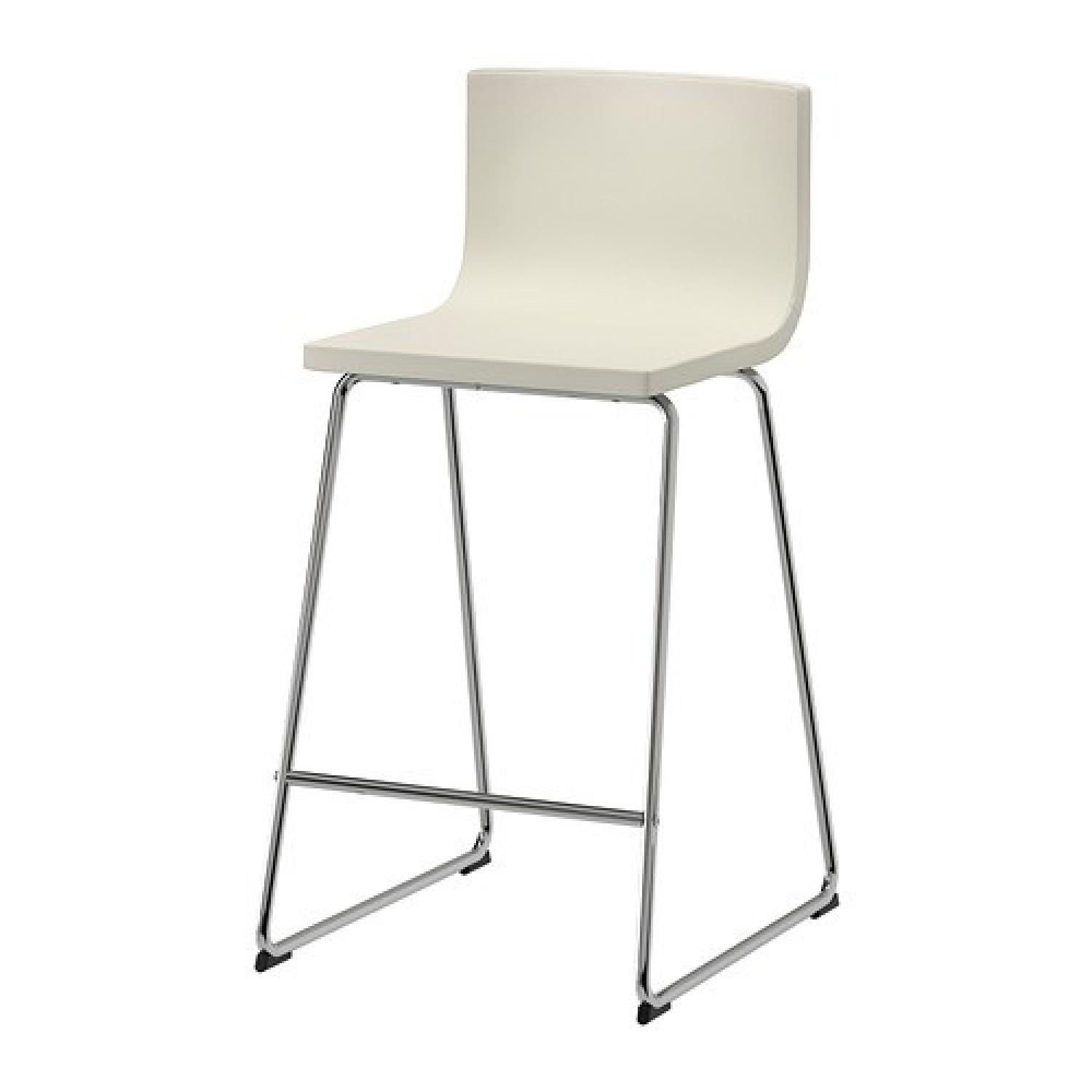 Ikea Bernhard White Leather Bar Stools w Backrest AptDeco