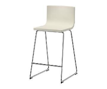 Ikea Bernhard White Leather Bar Stools w/ Backrest