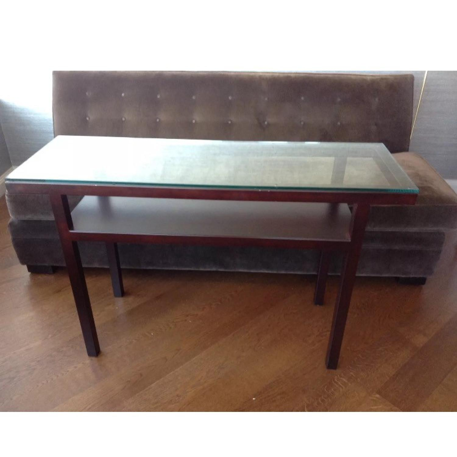 Crate Barrel Glass Bronze Parsons Console Table 0