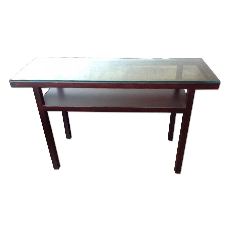 Crate U0026 Barrel Glass U0026 Bronze Parsons Console Table ...