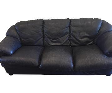 Natuzzi Dark Blue Leather Sofa