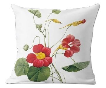 Flora and Fauna Flower Nasturtium Pierre Joseph Celestin Redoute Pillow