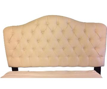 Macys Queen Cream Tufted Upholstered Headboard