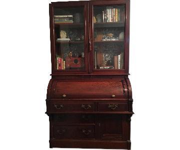 Antique Victorian Roll-Top Secretary Desk w/ Glass Door Book