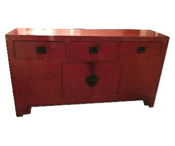 ABC Carpet and Home Vintage Red Chinese Storage Cabinet