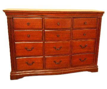 Cherry Brown 12-Drawer Wood Dresser