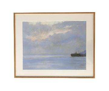 Vintage Framed Seascape Painting