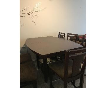 Raymour & Flanigan Espresso Counter Height 7 Piece Dining Se