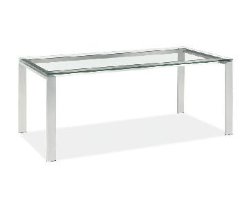 Room & Board Glass & Stainless Steel Console Table