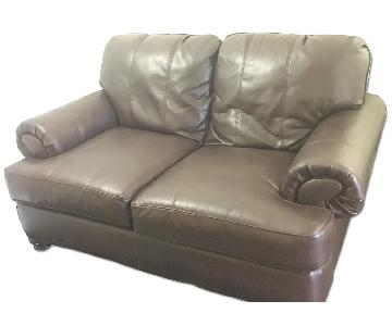 Bob's Brown Leather Loveseat