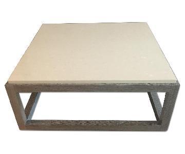 Custom Made White Stone Top Coffee Table