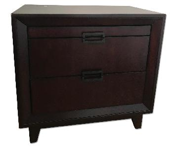 Raymour & Flanigan 2 Drawer Nightstand w/ Pull-Out Tray