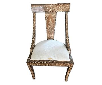 Indian Antique Wood Bone Inlay Chair