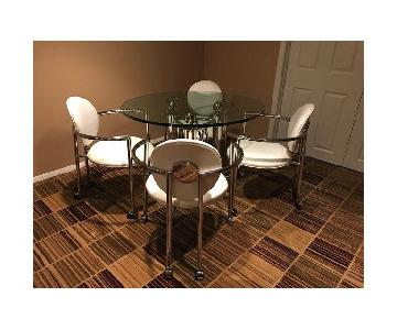 Brueton Glass Chrome & Leather 5 Piece Dining Set