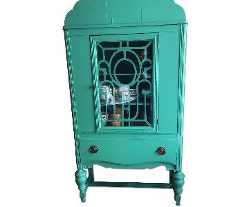 Antique Display Cabinet in Turquoise