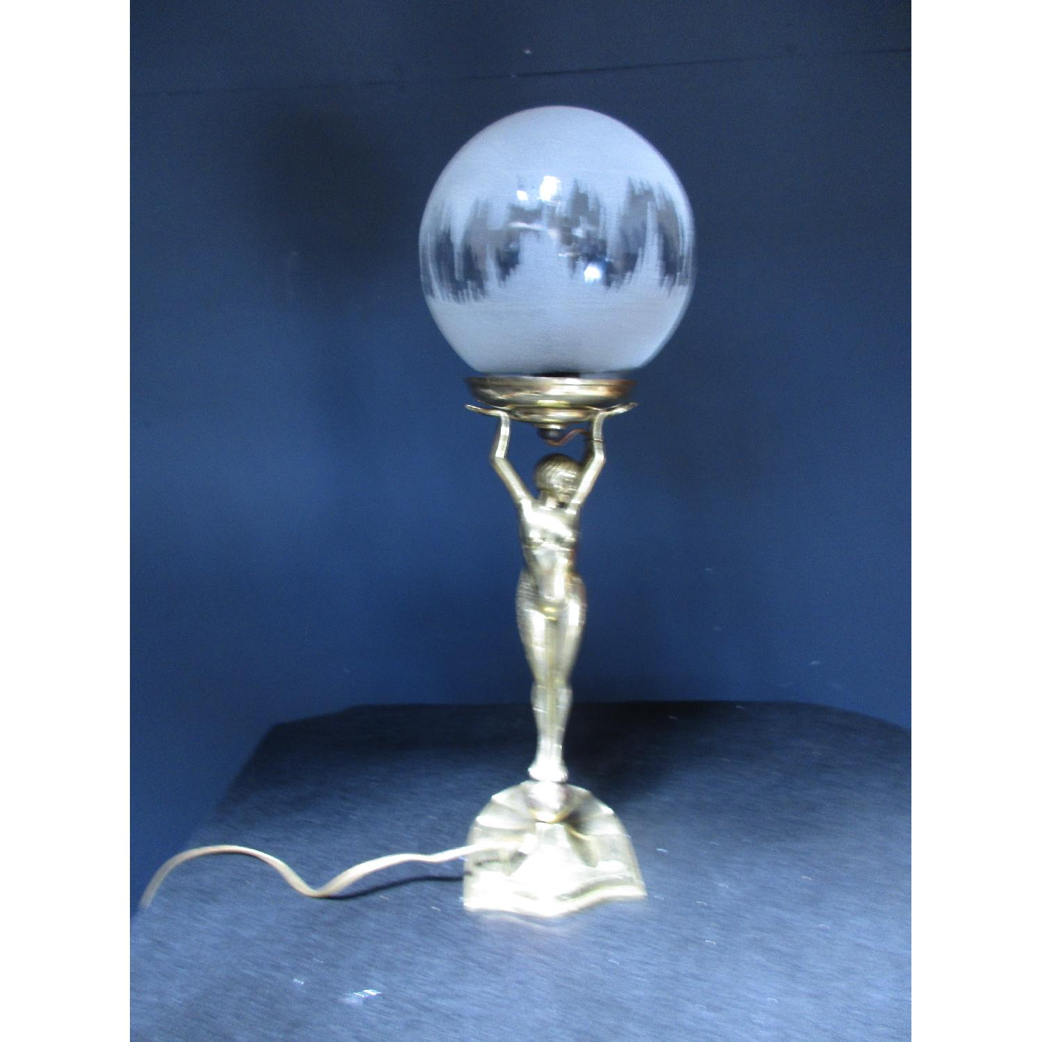 Art Deco Art Nouvea Nude Figurine Brass Lamp with Vintage Glass - image-2