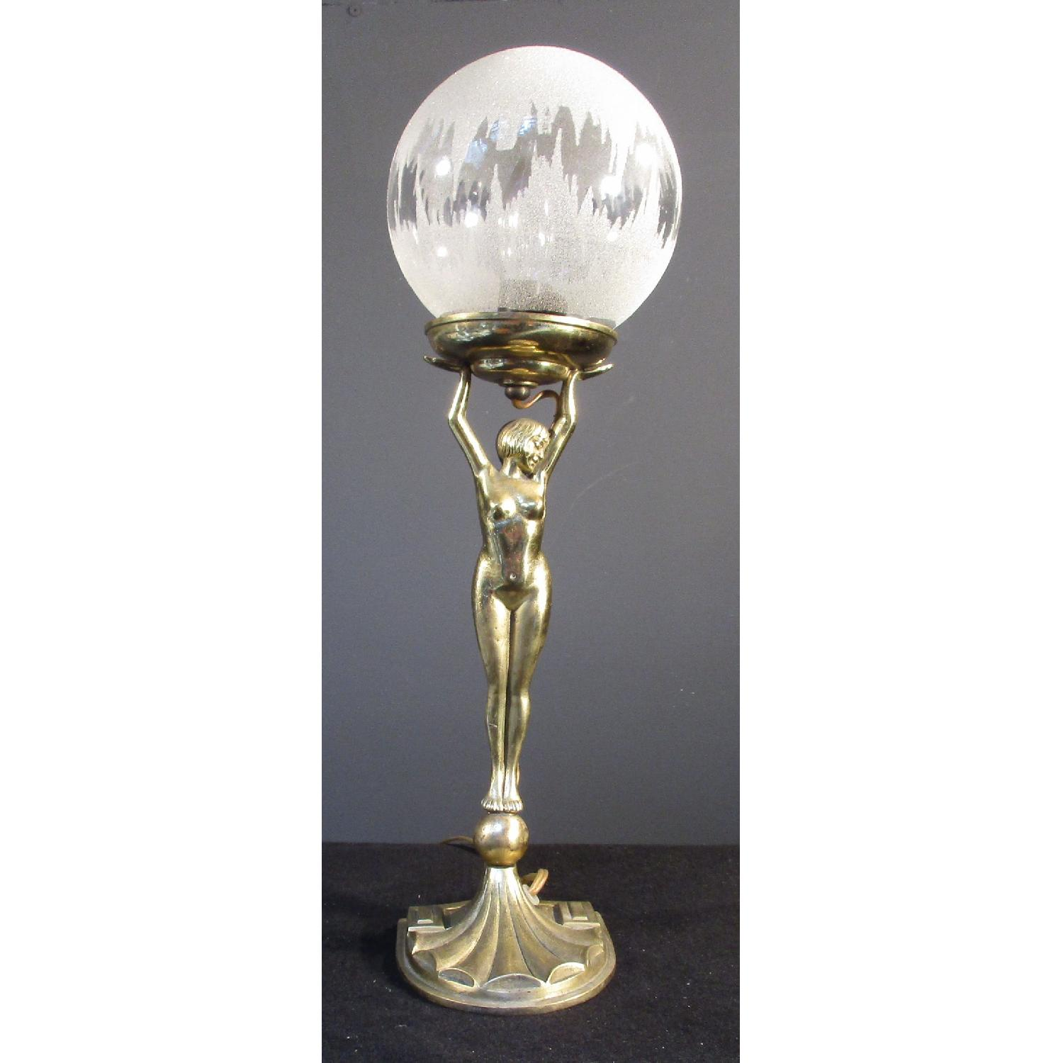 Art Deco Art Nouvea Nude Figurine Brass Lamp with Vintage Glass - image-6