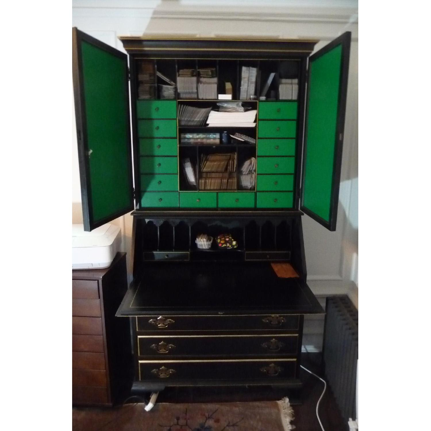 Vintage Black Secretary w/ Green Drawers
