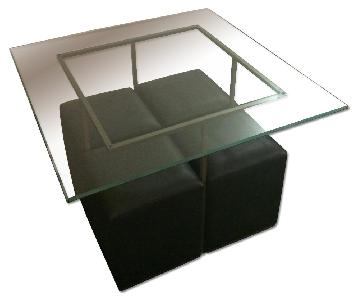 Pier 1 Square Glass Table w/ 4 Stools