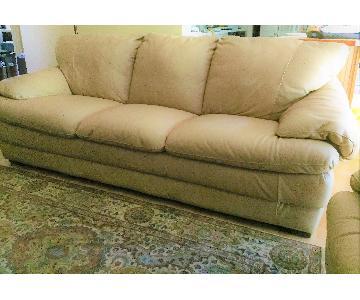 Natuzzi Leather 3 Seater Sofa + Loveseat + Chair & Ottoman