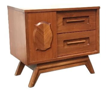 Vintage Modern Sliding Door Nightstand
