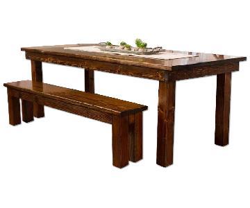 James & James Farmhouse Table w/ 2 Benches