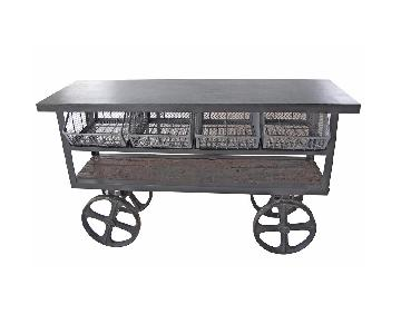 Kathy Kuo Home Industrial Metal & Wood Console Cart