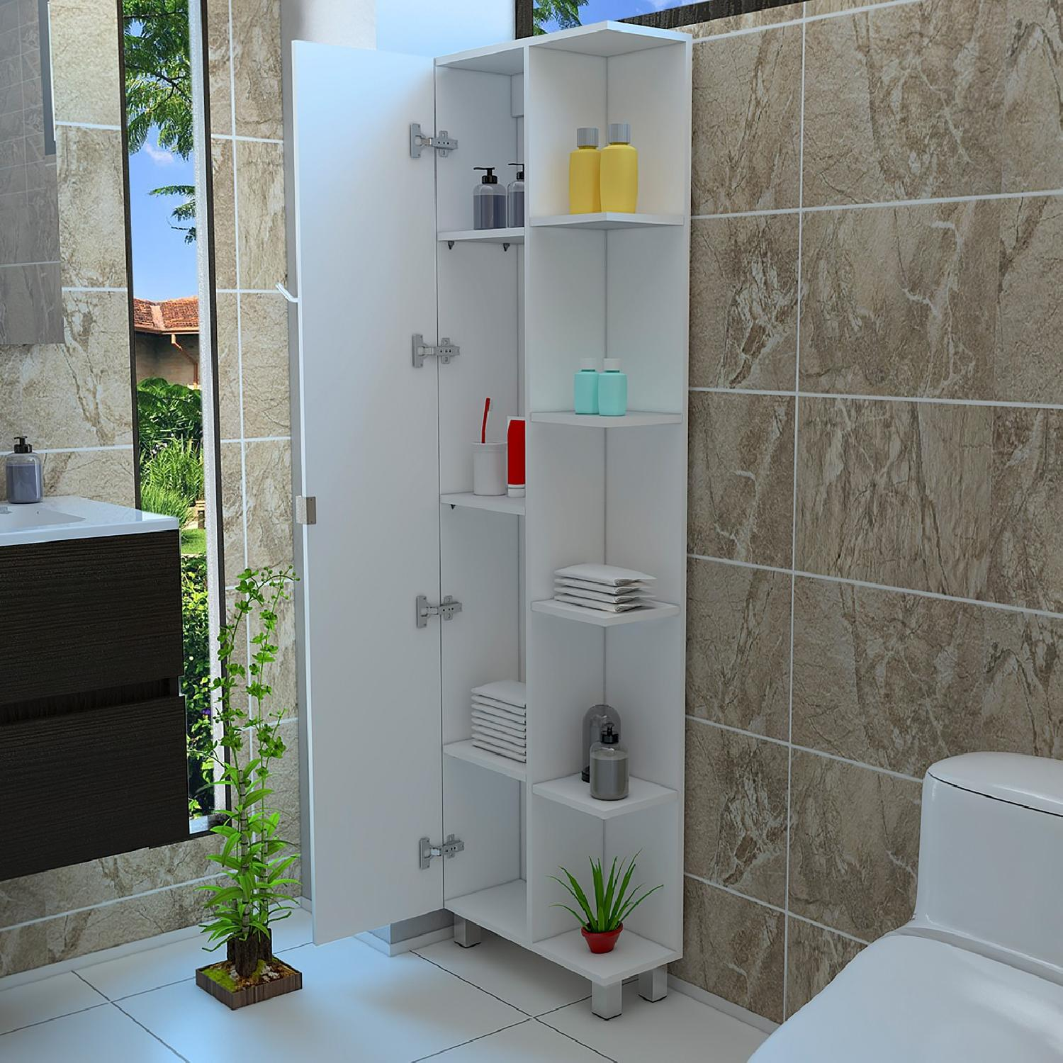 Tall Corner Bathroom Cabinet w/ 1 Door - AptDeco